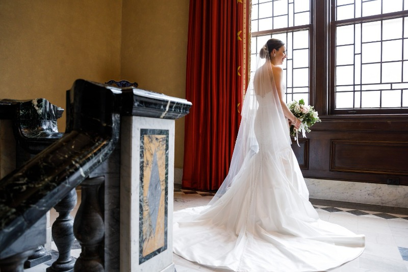 Jessica + Jeff's classic wedding at The Union Club. Dress: custom Lea-Ann Belter gown   bridal shop: Brides by the Falls   photographer