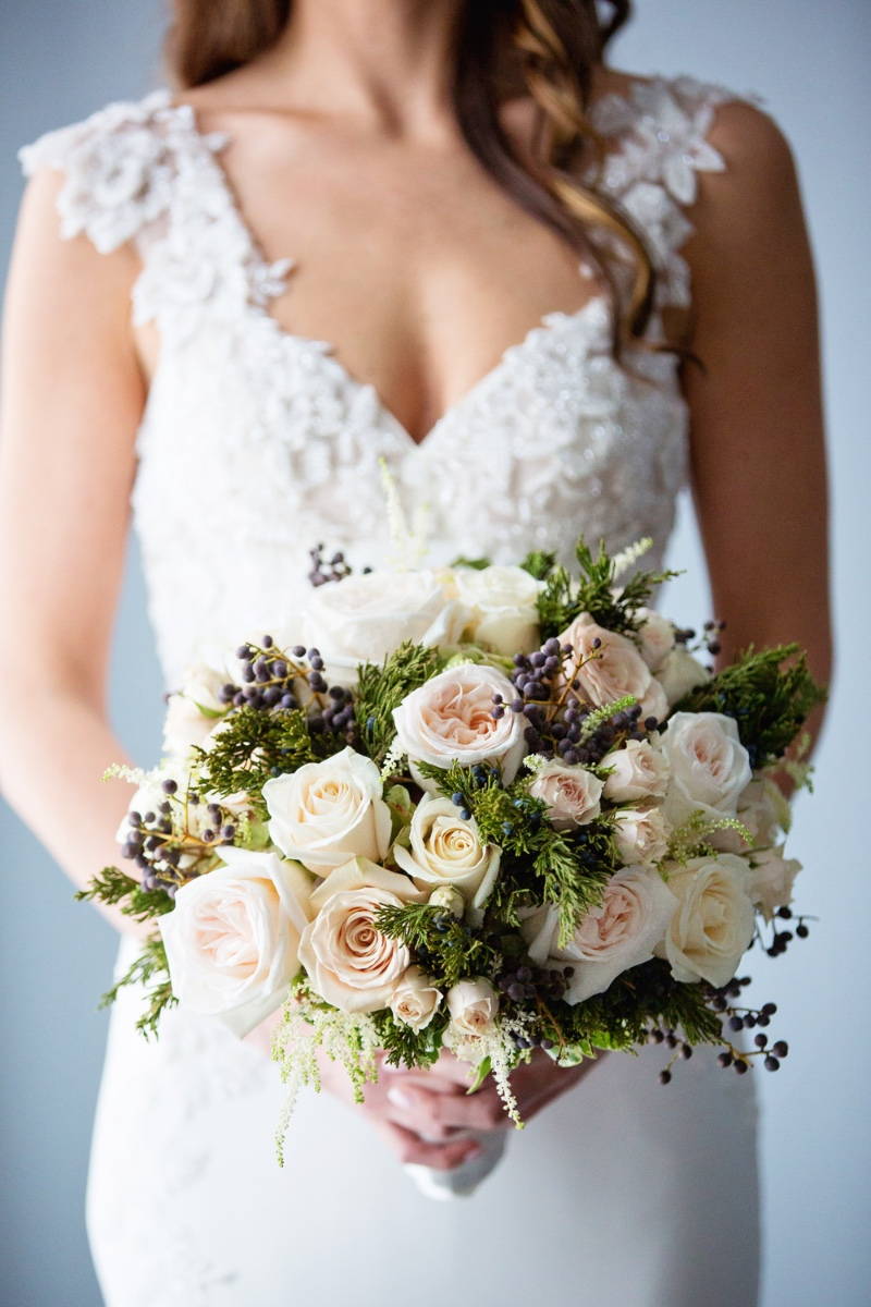 Gorgeous winter bridal bouquet for a modern rustic New Jersey wedding.