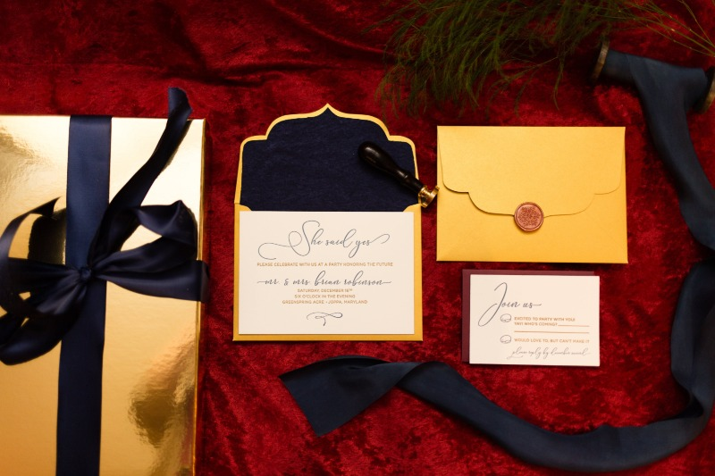 We're in the holiday spirit! Themed custom invitation suite made by Type A Invitations #betypa