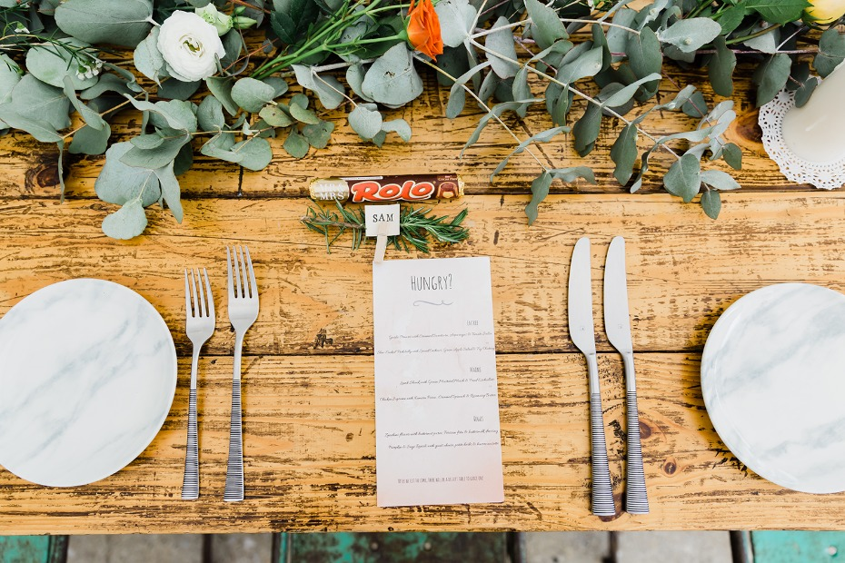 wedding menu and place settings