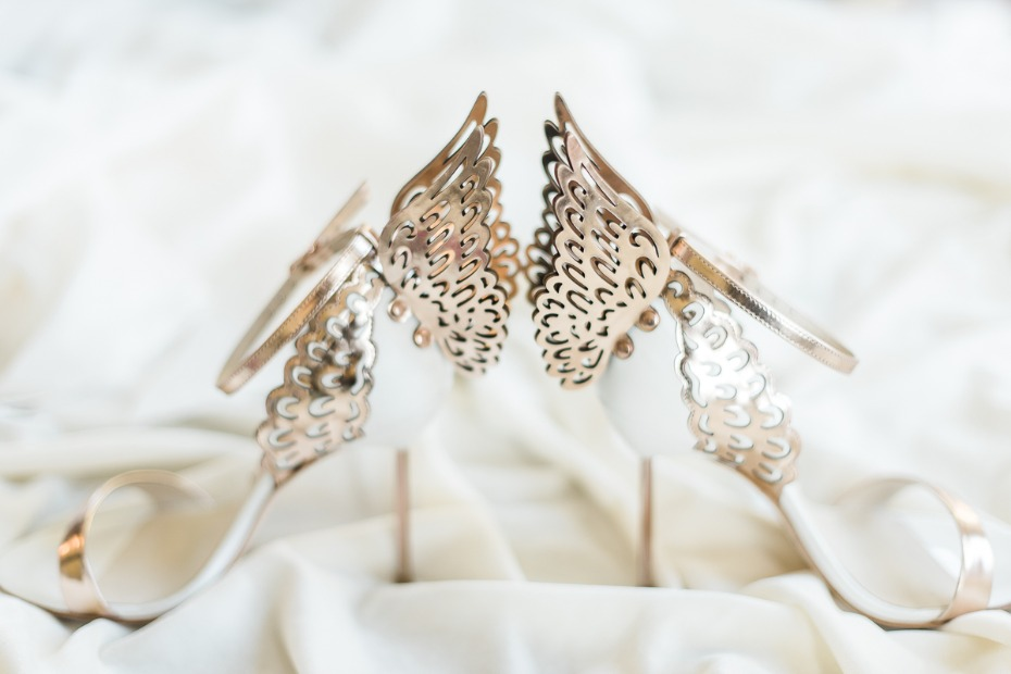 Angel wing wedding heels