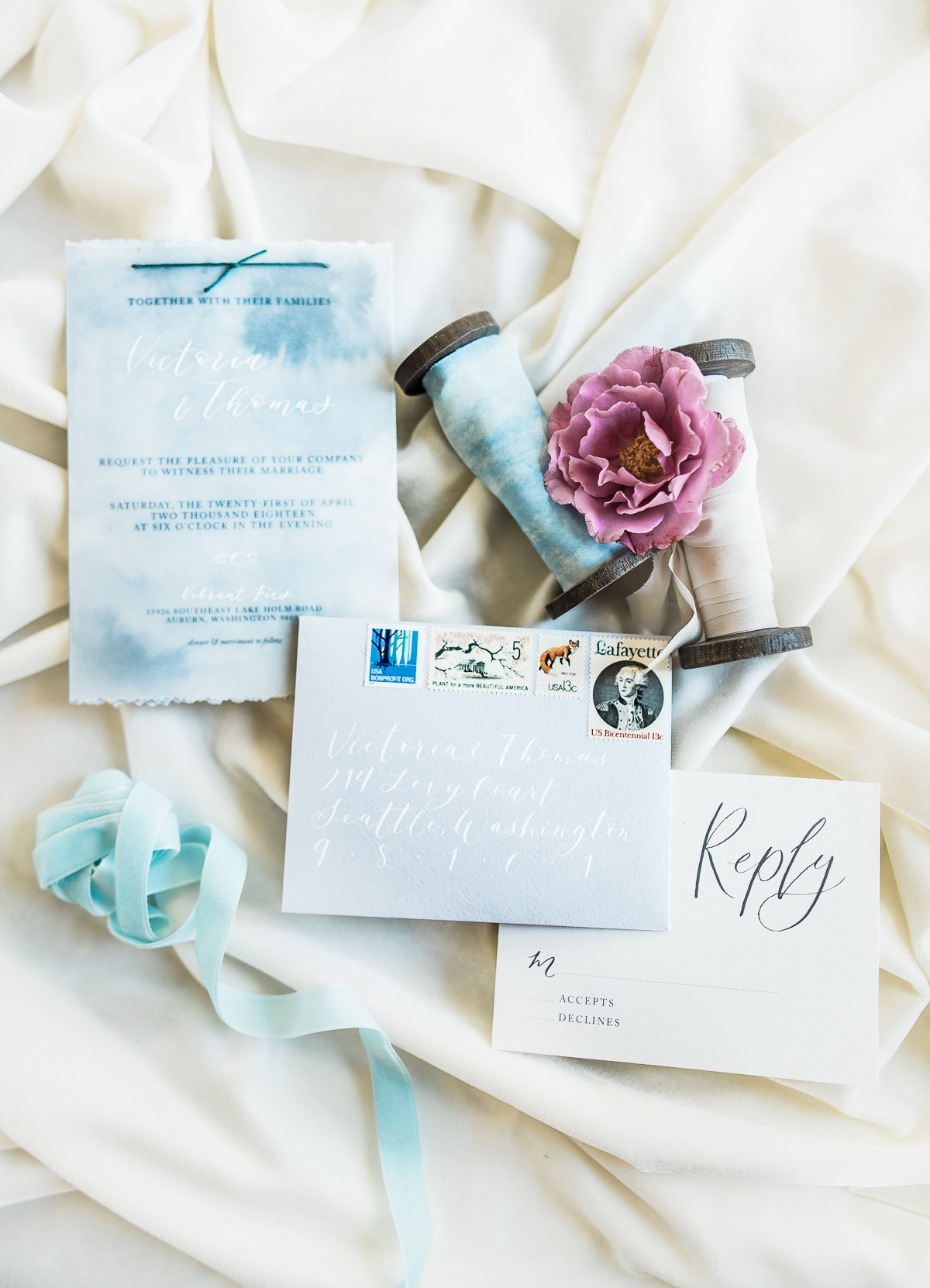 Blue water color invitations