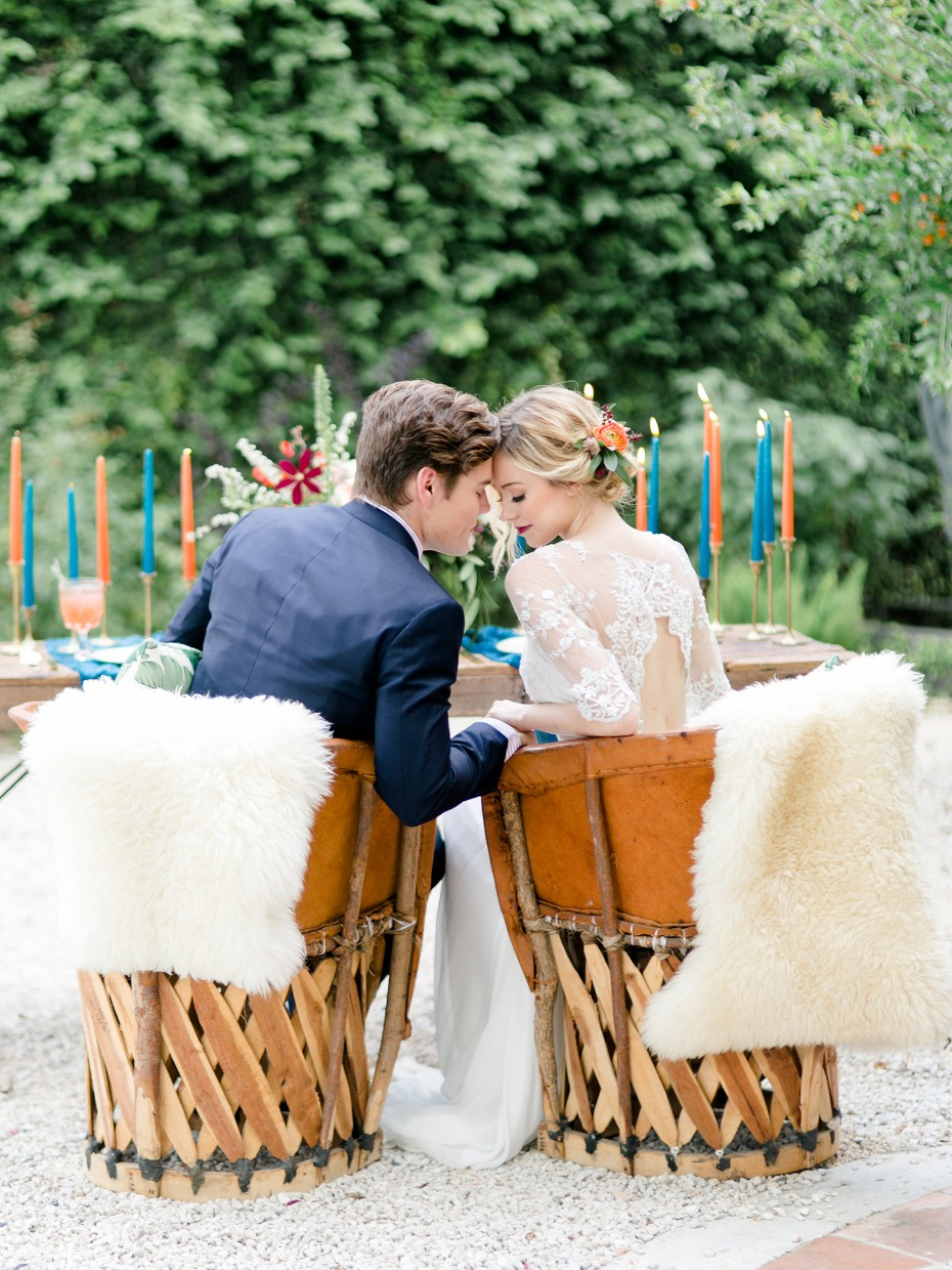 wood and leather bucket sweetheart table seats