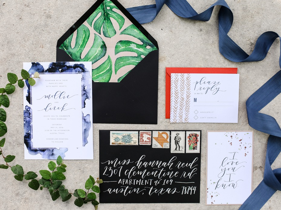 bold and modern wedding stationery with watercolor elements