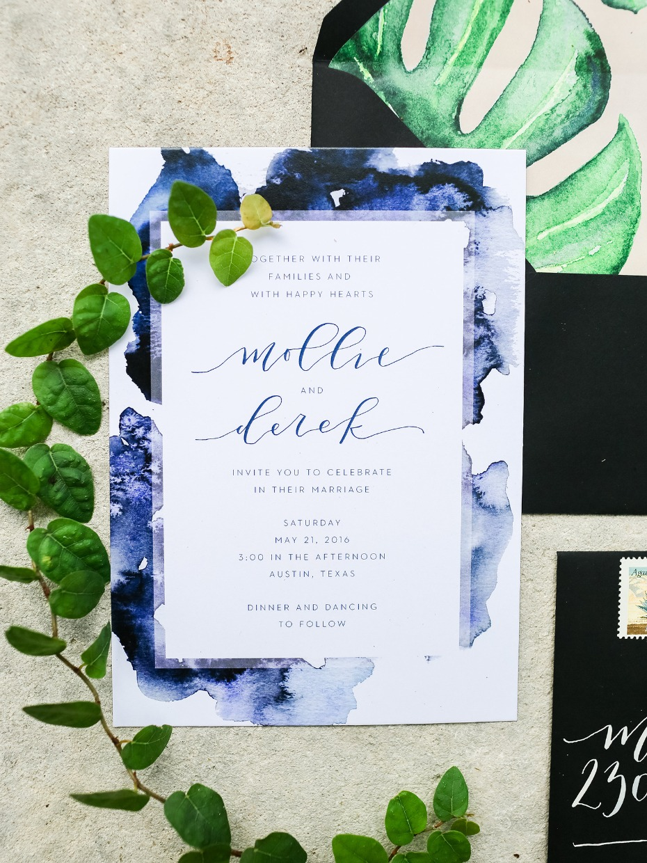 water color wedding invitation suite