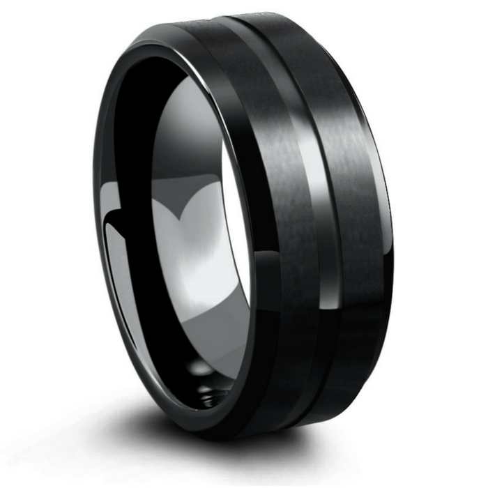 Mens all black tungsten wedding ring. Matte texture top with a polished carved channel running through the center of the ring. High
