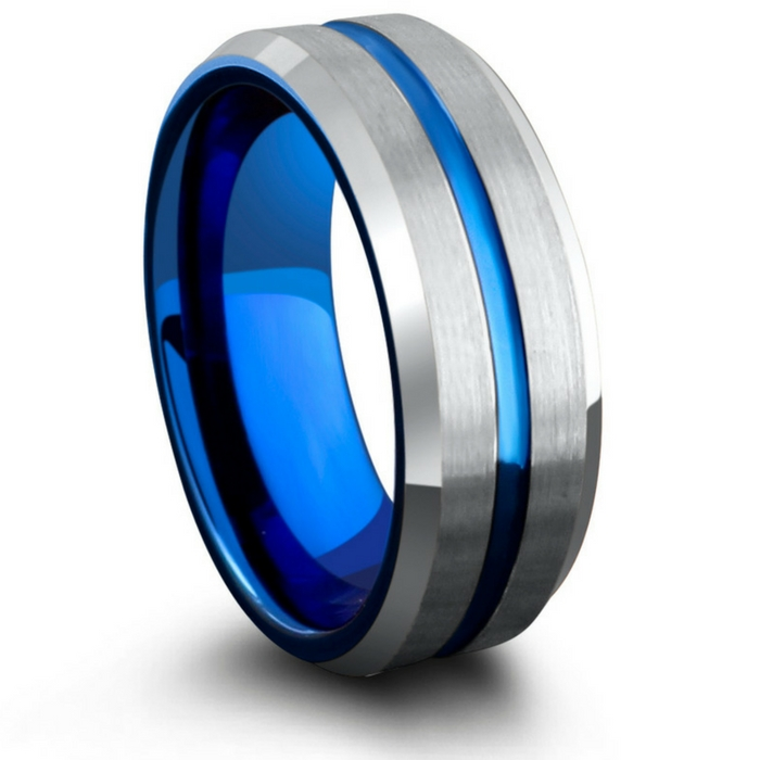Men's blue and silver tungsten wedding ring. Blue carved center channel running through the center of the ring. Silver matte top leading