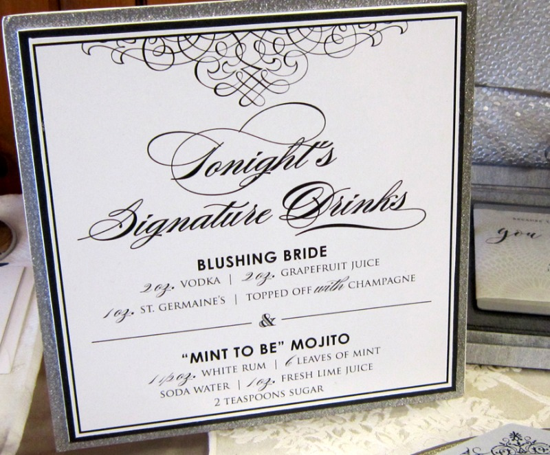 A custom signature drink sign from Persnickety Invitation Studio is the perfect way to let your guests know what special drinks you