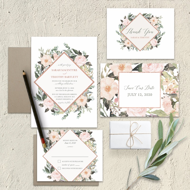 Geometric Wedding Invitations Blush Peach Floral Greenery. Rose Gold Geometric Save the Date Cards Blush Coral Floral. This absolutely