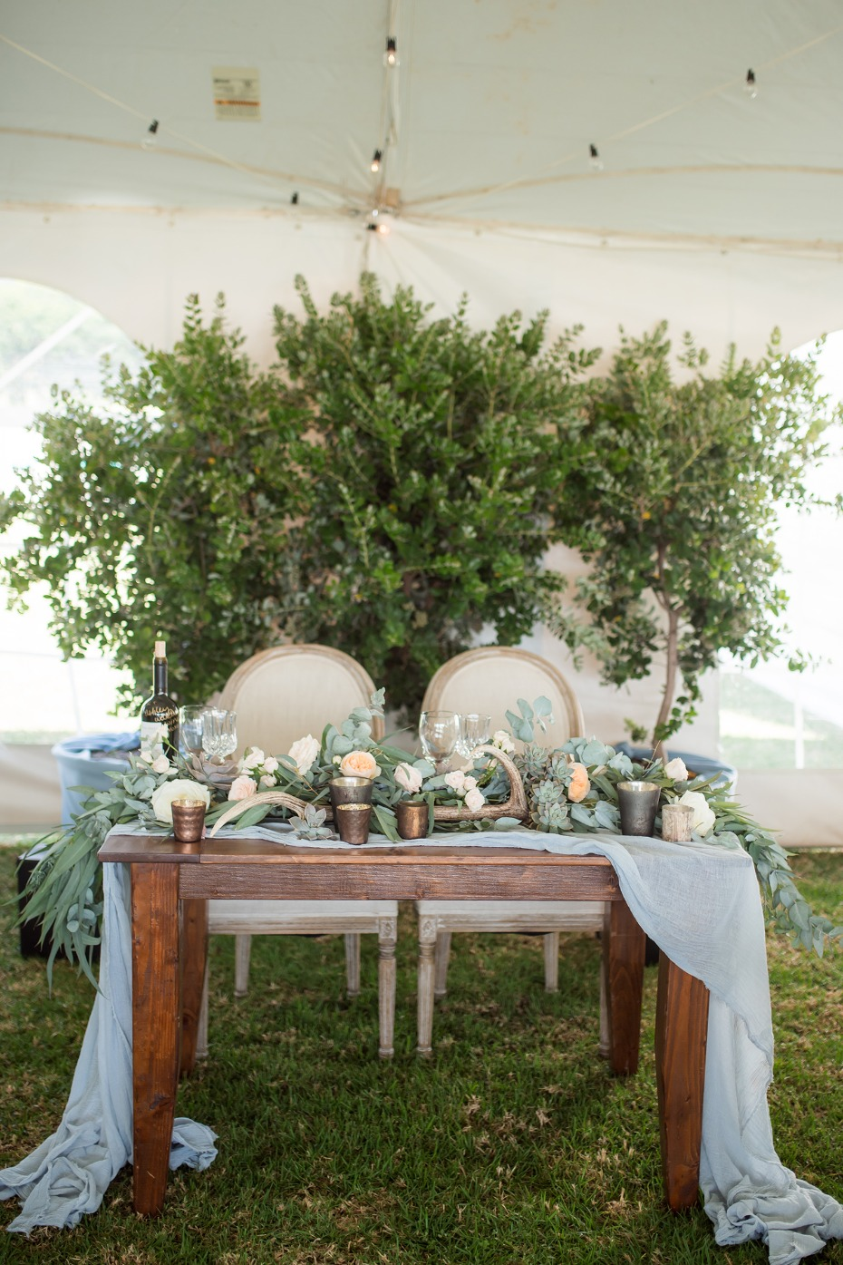Rustic chic sweetheart table for two