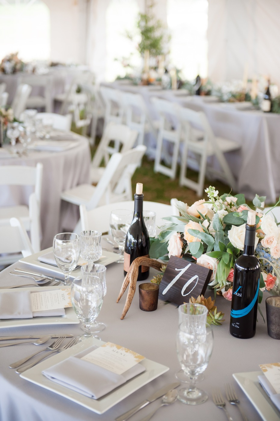 Rustic chic centerpiece with antler sheds