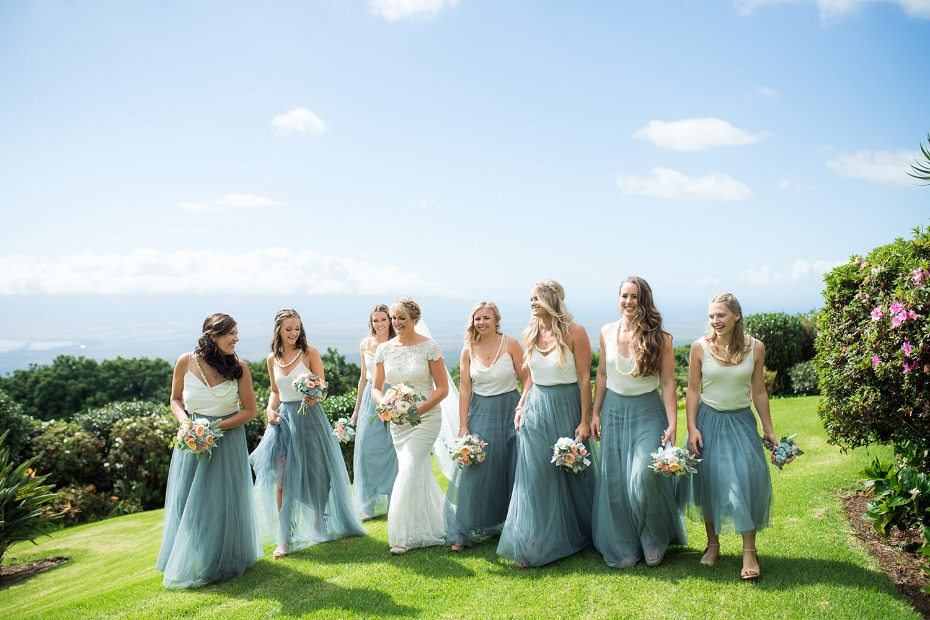 Blue and white bridesmaid look