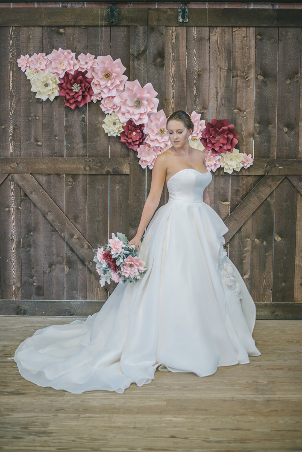 dramatic paper flower wedding backdrop