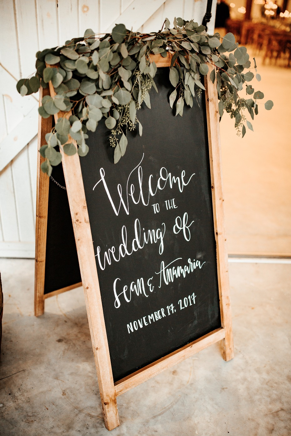 Chalkboard sign with eucalyptus