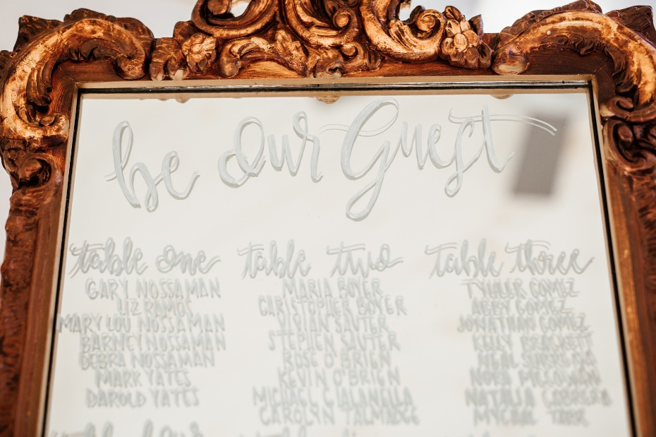 Be our guest seating chart mirror
