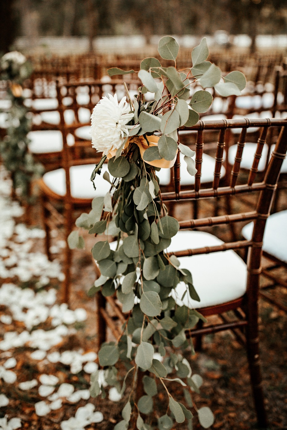 Chair decor idea with eucalyptus