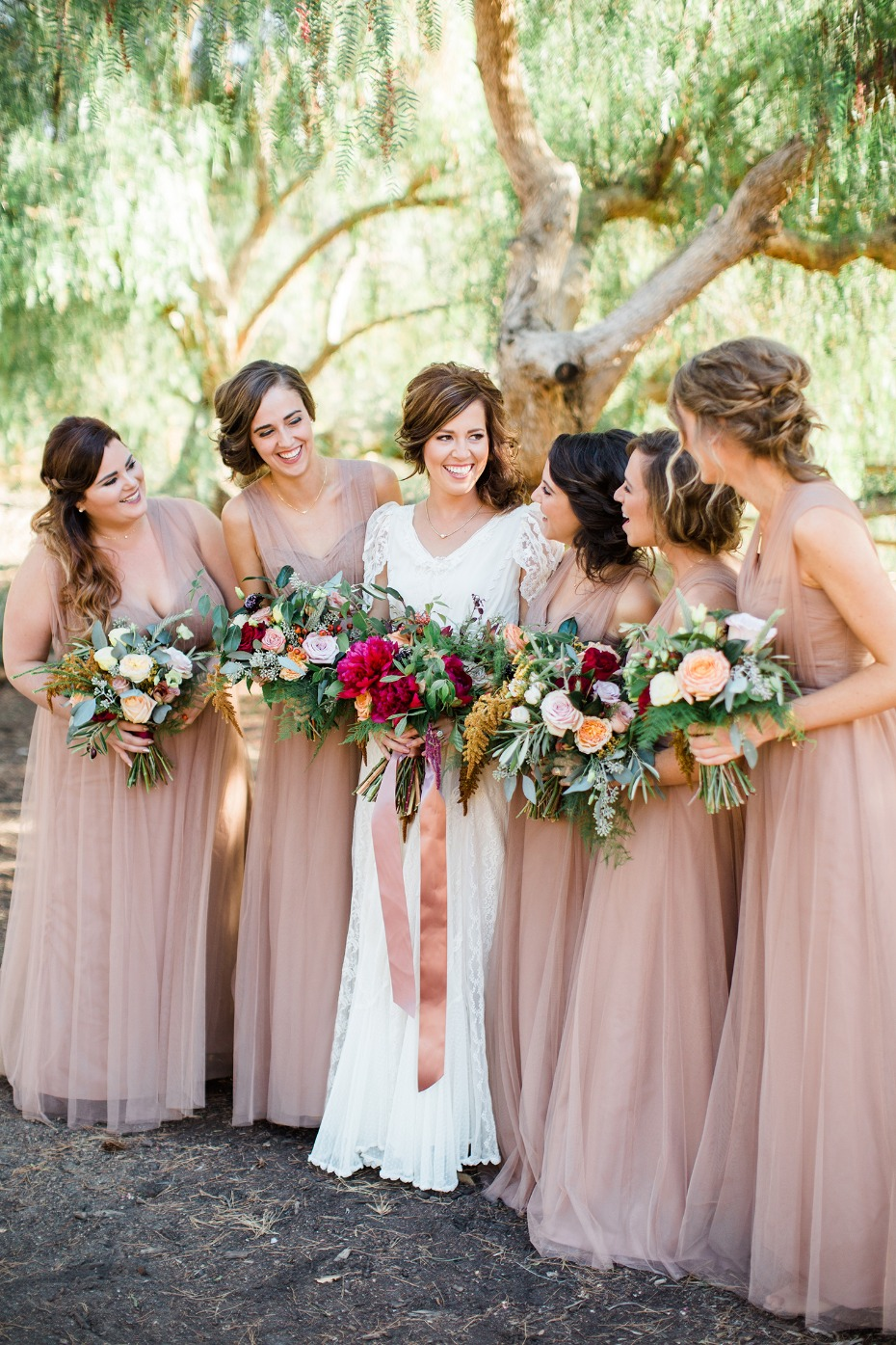 bridal party in Watters Wtoo bridesmaid dresses