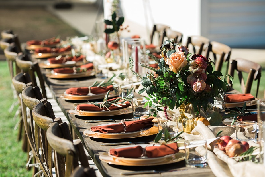 Fall style wedding table decor