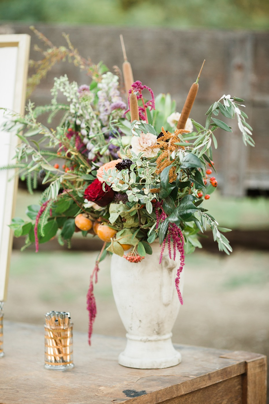 fun and funky wedding floral decor