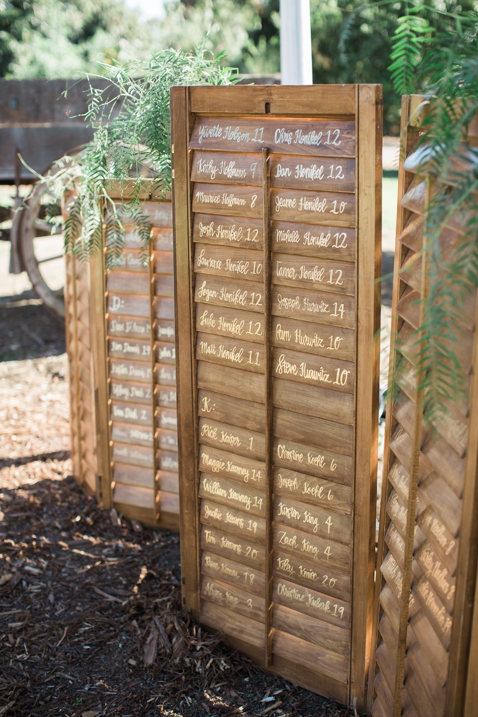 wooden shutter seating assignment display
