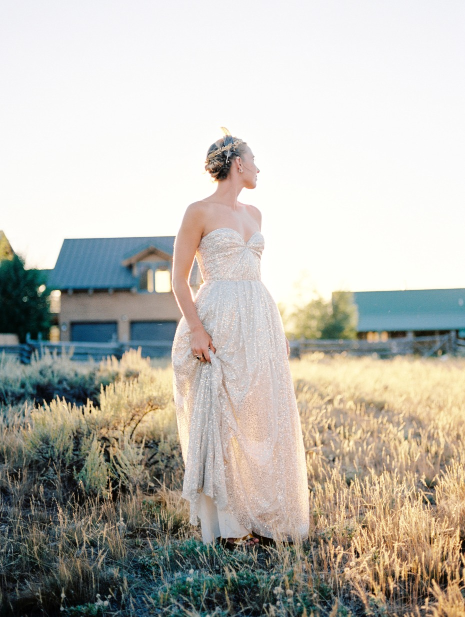 golden hour wedding bridal portrait in gold wedding dress