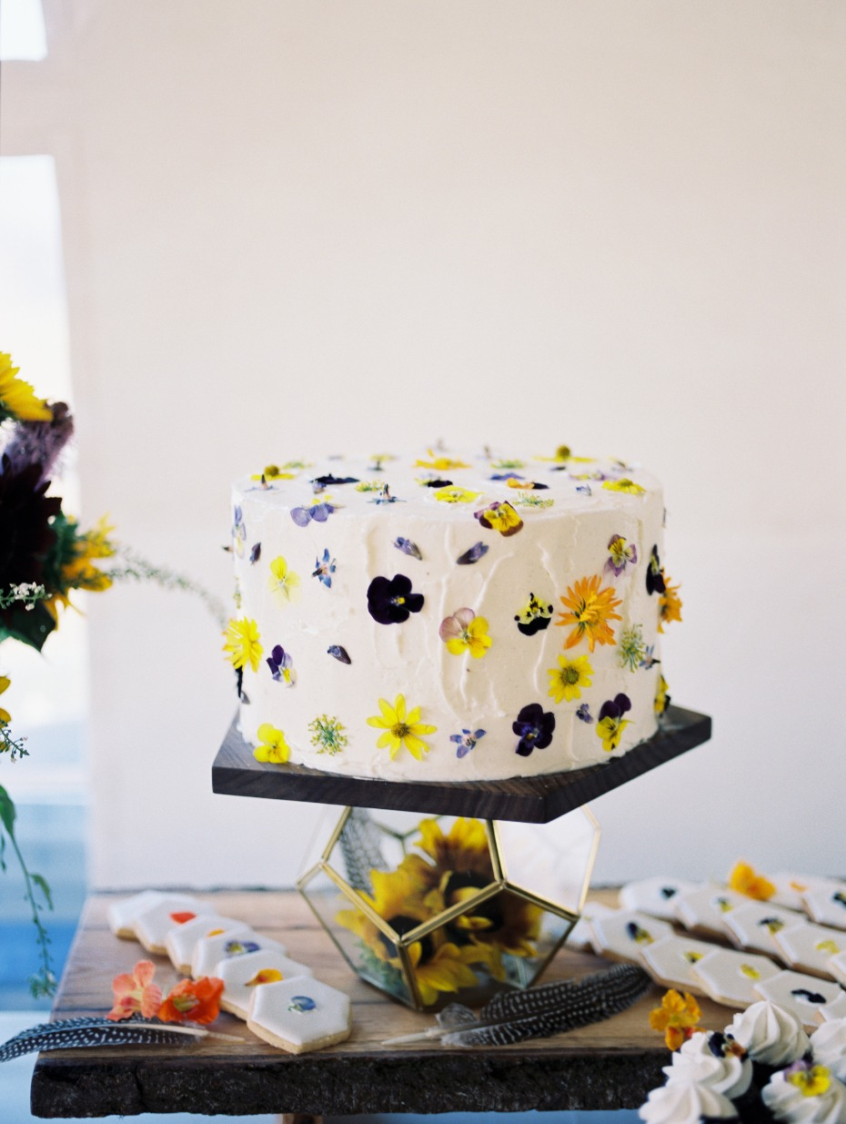 pressed flower wedding cake