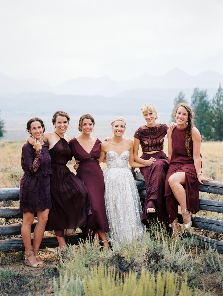 deep plum bridesmaid mismatched dresses
