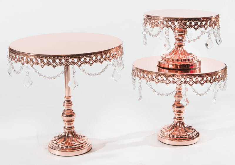 Shiny Rose Gold Chandelier Cake Stands have arrived! •Chandelier Round Metal Cake Stands