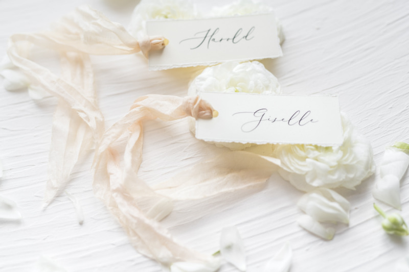 Simple and Delicate wedding place cards with silk ribbon