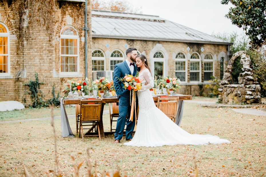 outdoor wedding reception with fall decor