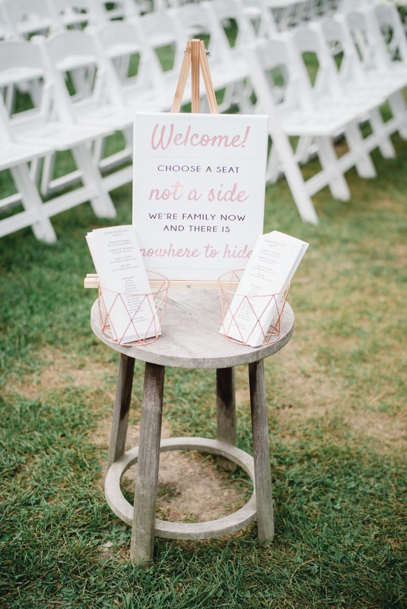 Nothing like a little humor to celebrate the joining of two families. Custom signage and programs created by Miss Design Berry. Ready