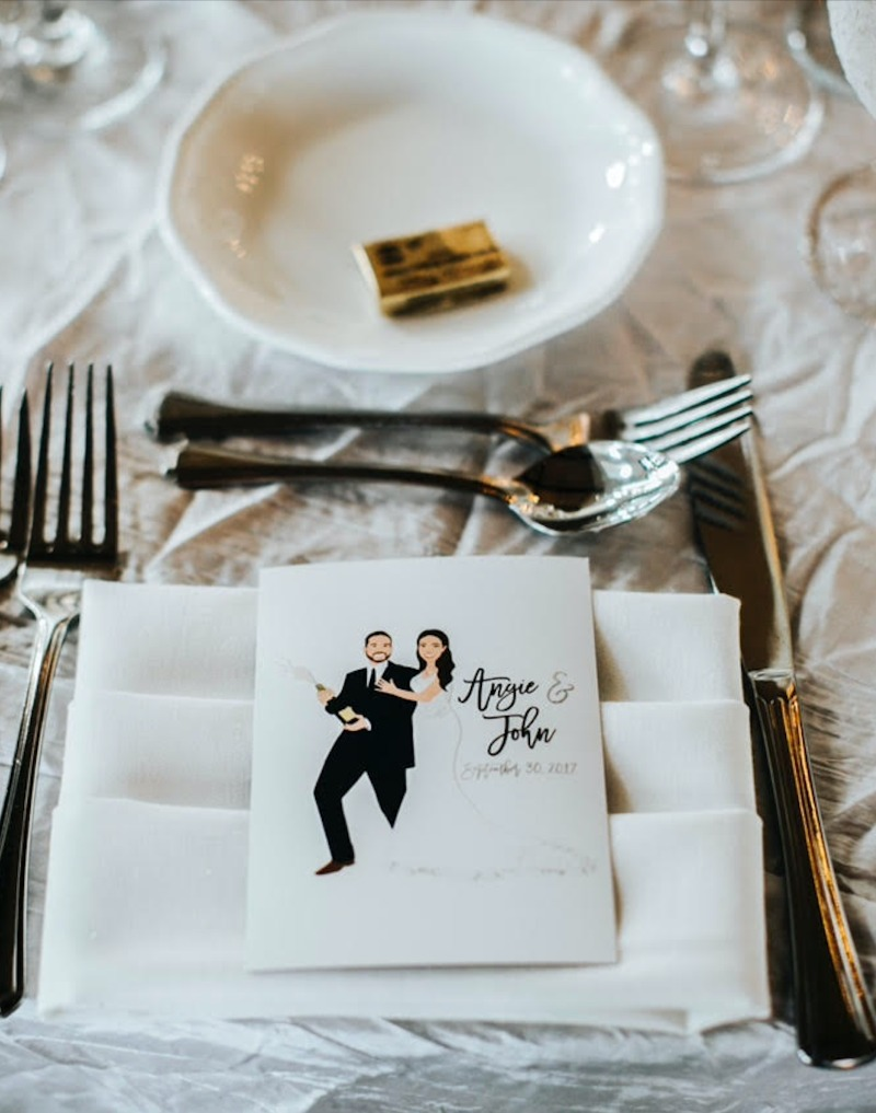 Put the you in menu :) Custom illustrated portrait menu by Miss Design Berry. Ready to make your wedding design dreams come true? Chat