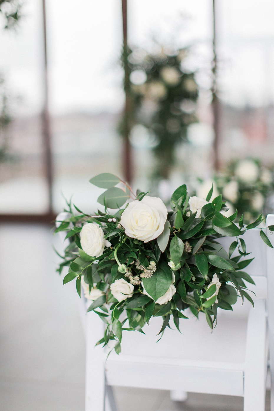 white floral wedding aisle decor
