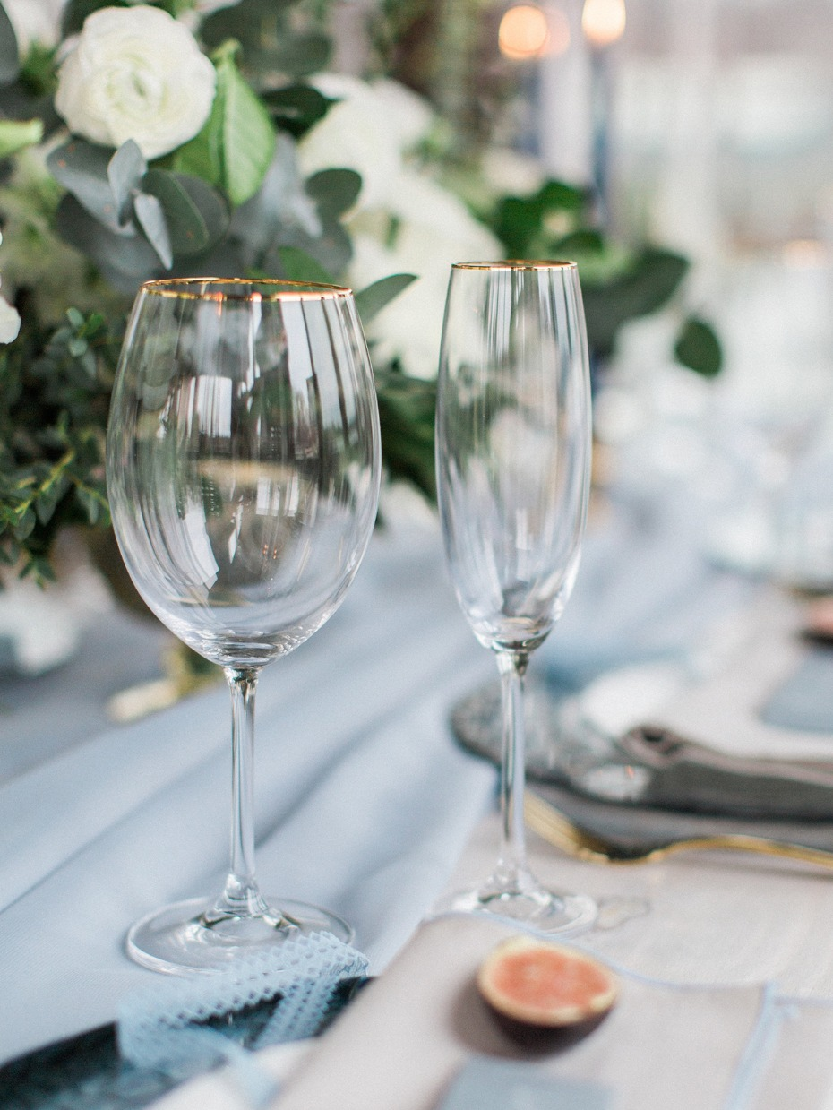 gold rimmed wedding glasses