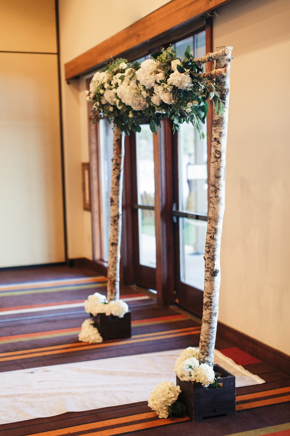 Wood and flower arch