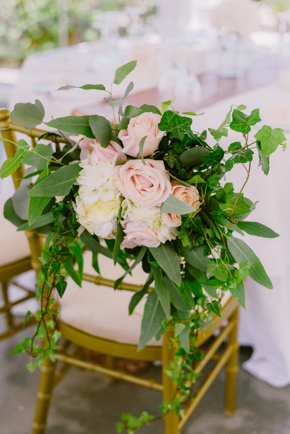 blush roses and cascading greenery seat decor
