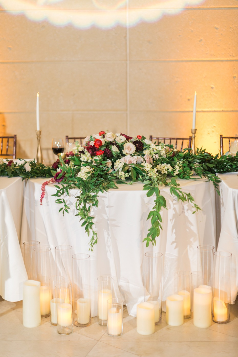 sweetheart table lit by candles