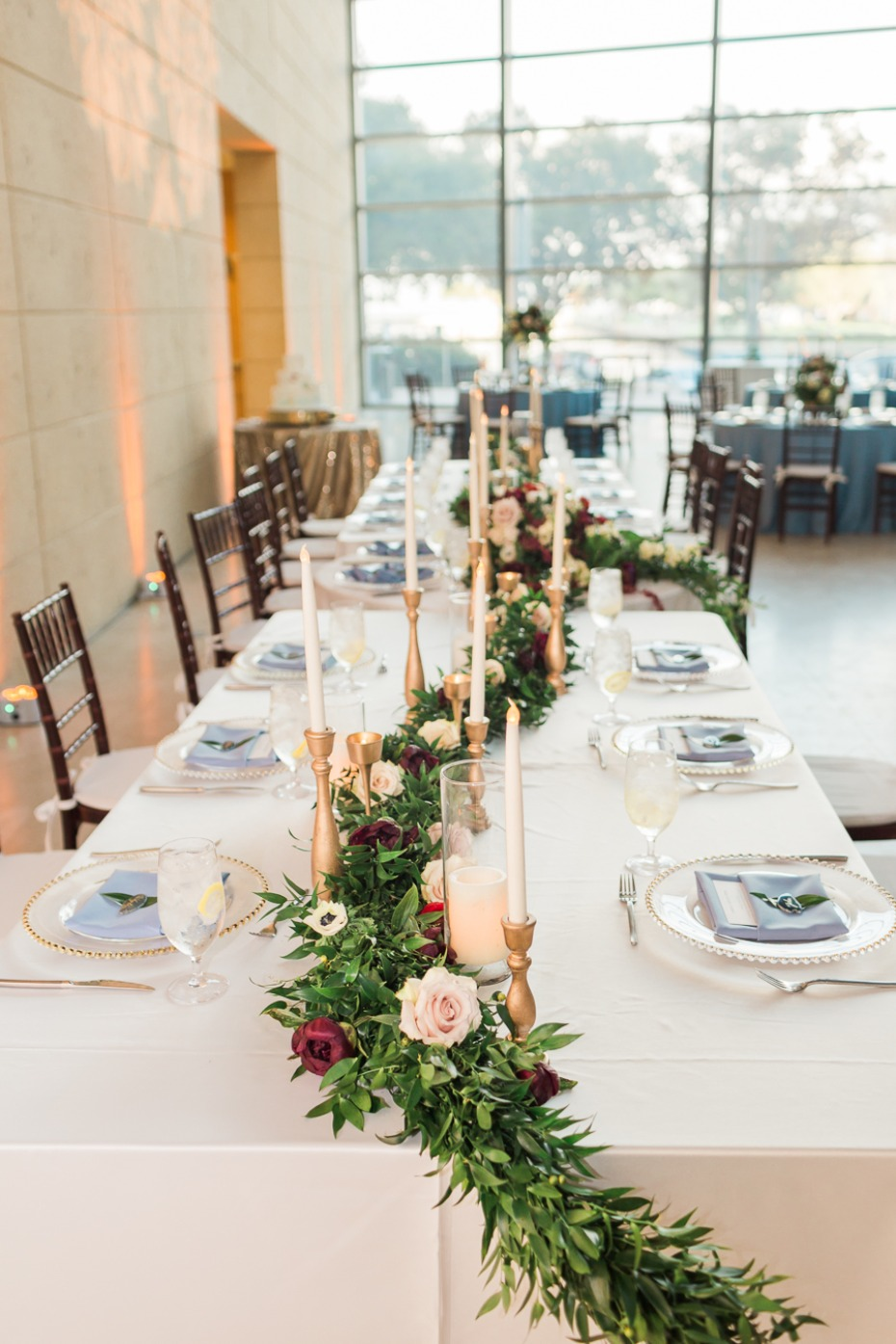 long floral garland table centerpiece