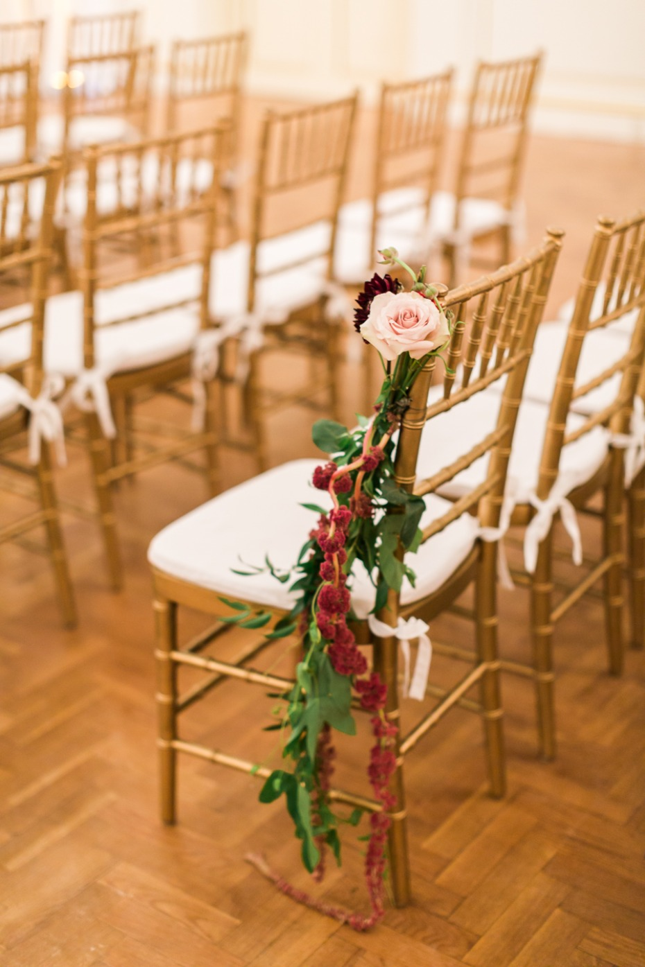 wedding chair floral and aisle decor