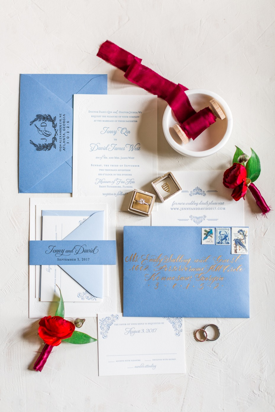 regal and classic inspired wedding invitations