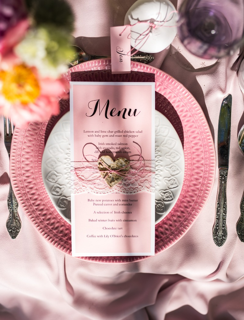 Wedding menu- pastel pink and delicate lace