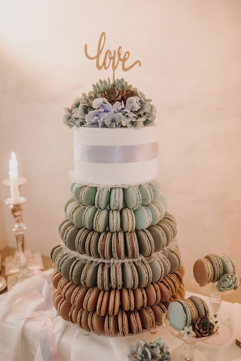 macaron tower and wedding cake