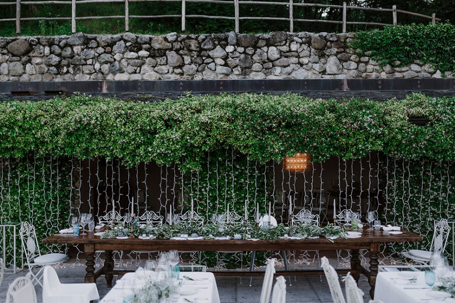 garden wedding party table