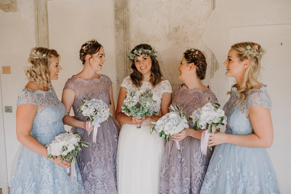 dusty blue and purple bridal party