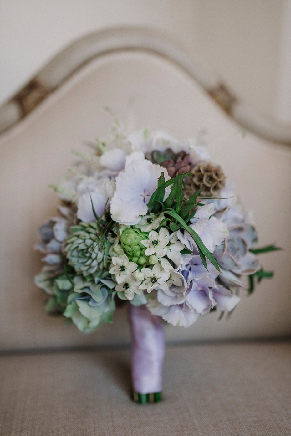 blue and purple succulent inspired wedding bouquet