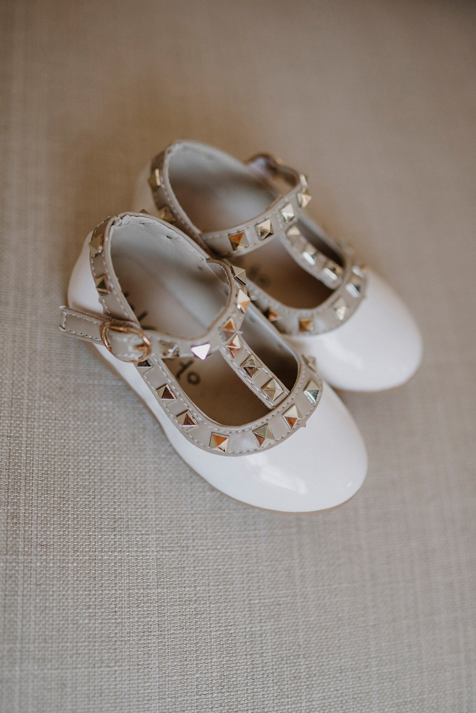 mini studded wedding shoes for the daughter of the bride