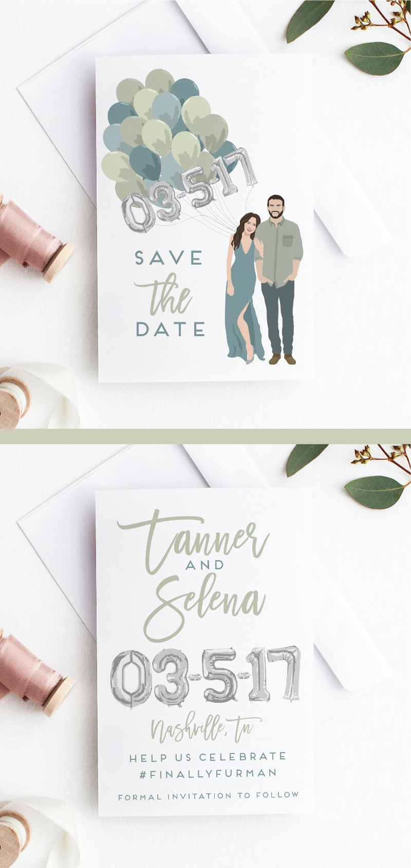 A brand new style in our portrait save the date collection, featuring illustrated balloons to display your date. Super modern and fun