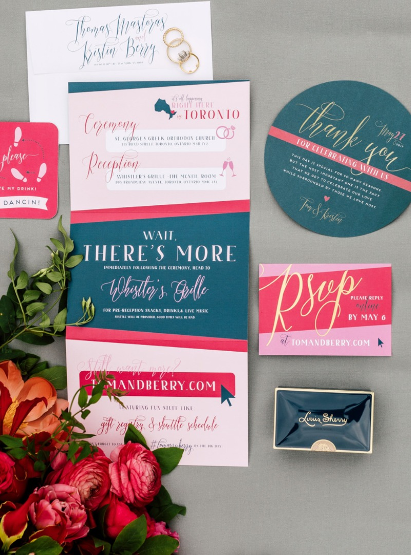 Bold, moody colors are THE trend for 2018 weddings. Check out invitation suites, signage, and more - custom made just for you by Miss
