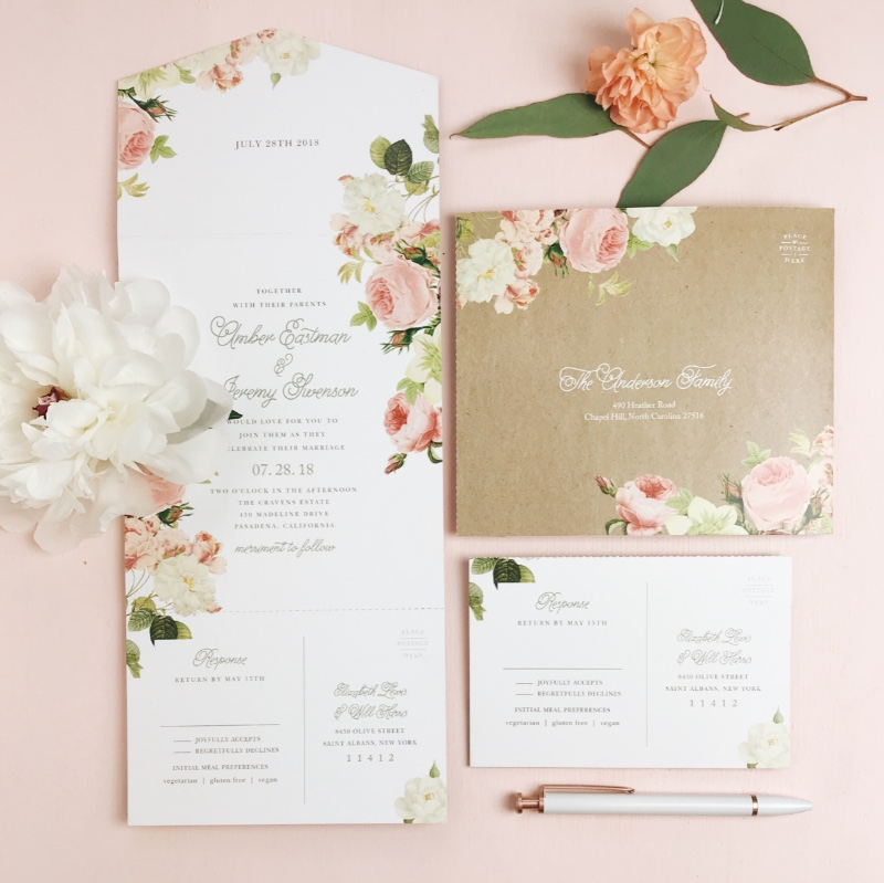 Have you checked out Basic Invite's brand new Seal & Send Wedding Invitations? They are an all-in-one design and we are loving