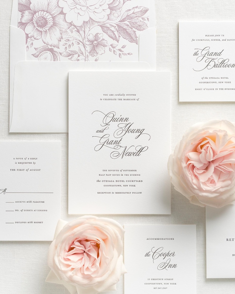 Quinn wedding invitation suite for 2018 from Shine Wedding Invitations.